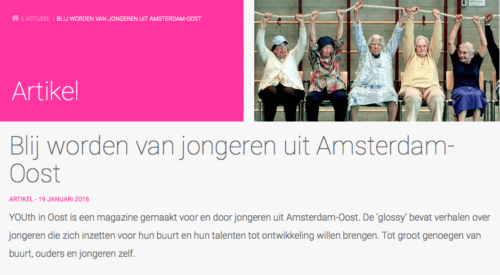 Artikel over ons magazine You(th) in Oost op kennisplatform Integratie & samenleving